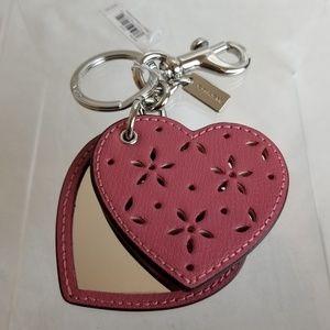 Coach Strawberry Heart Mirror Bag Charm Keychain